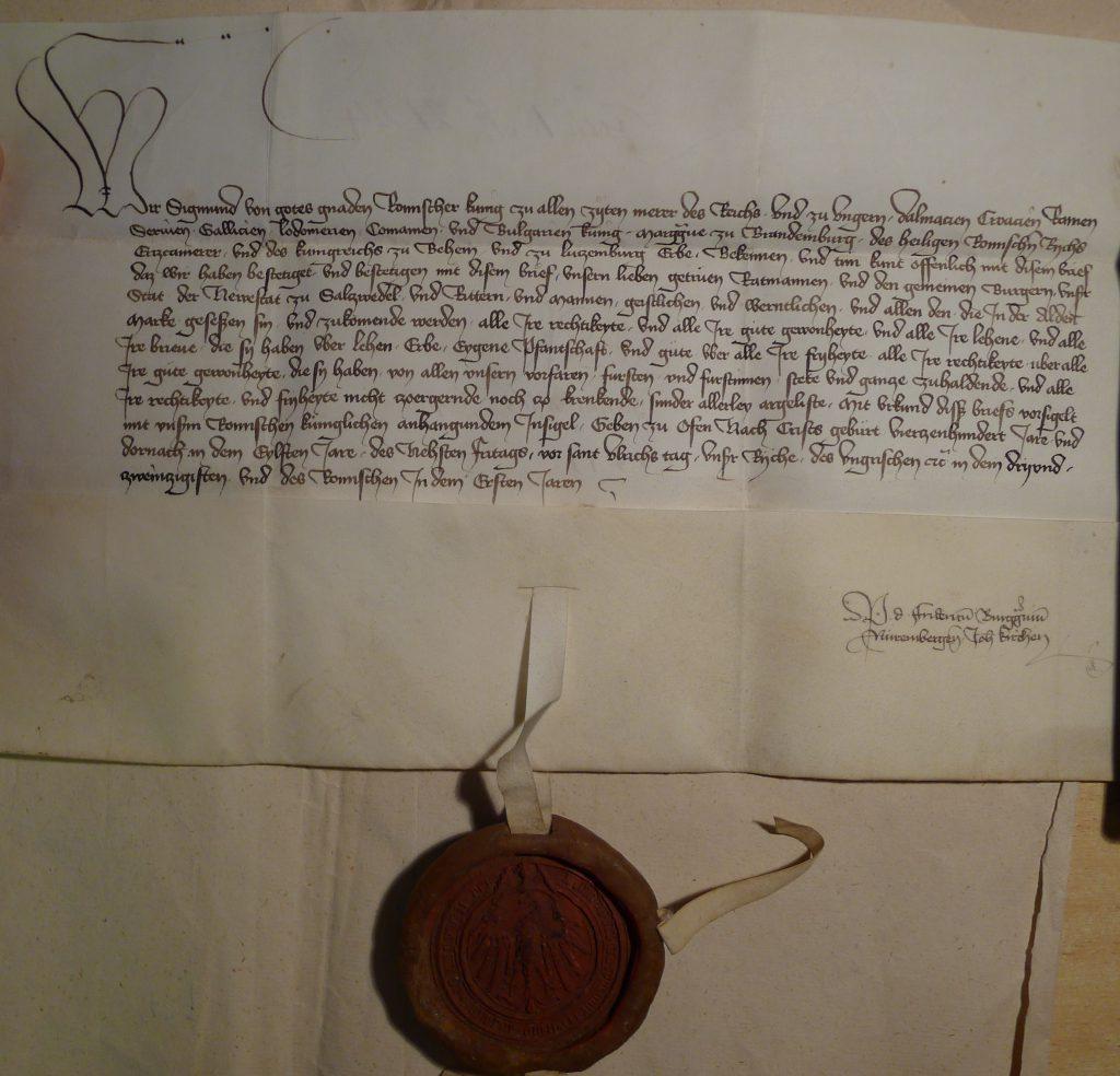 Urkunde König Sigismunds von 1411 für die Neustadt Salzwedel